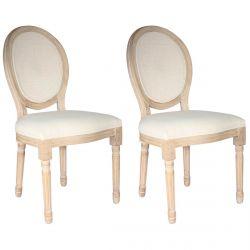 MELINDA - Lot de 2 Chaises Baroques avec Dossier Canné