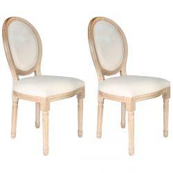 Melinda - Lot de 2 Chaises Baroques Tissu Beige