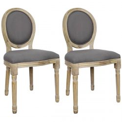 MELINDA - Lot de 2 Chaises Baroques Tissu Gris