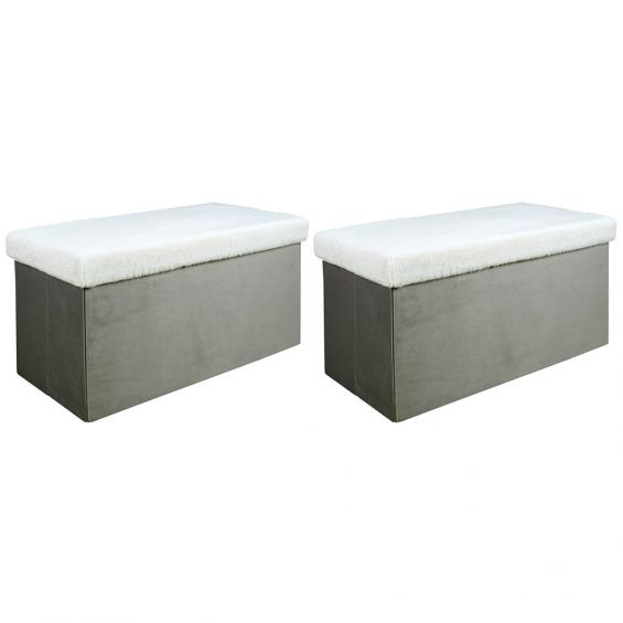 Arie - Lot de 2 Poufs Rectangulaires Gris Imitation Fourrure