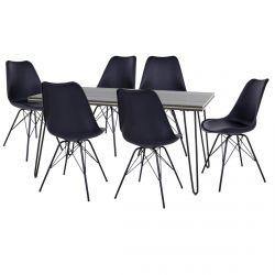 Asca - Ensemble Table 160cm + 6 Chaises Haga Noires