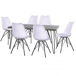 Asca - Ensemble Table 180cm + 6 Chaises Haga Blanches