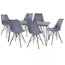 Asca - Ensemble Table 160cm + 6 Chaises Haga Grises