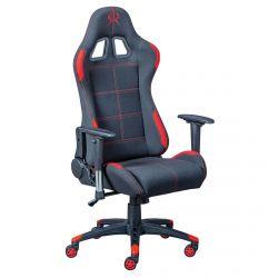 GAMER - Chaise Gaming Tissu Noir et Rouge
