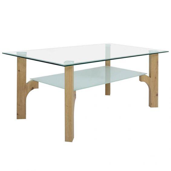 Natal - Table Basse Rectangulaire Verre et Aspect Bois