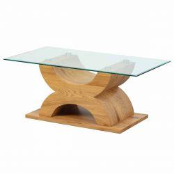 Abeceda - Table Basse Rectangulaire Plateau Verre et Base X