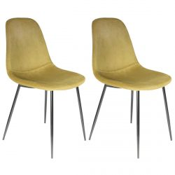 ALESSIA - Lot de 2 Chaises Velours Côtelé Jaune Moutarde