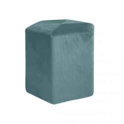 Alessia - Pouf Hexagonal 35cm Velours Côtelé Bleu Canard