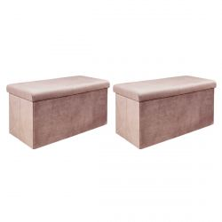 ALESSIA - Lot de 2 Poufs Coffres Rectangulaires Velours Côtelé Rose