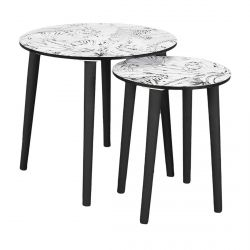 Leilanie - Lot de 2 Tables Gigognes Plateaux Motif Jungle