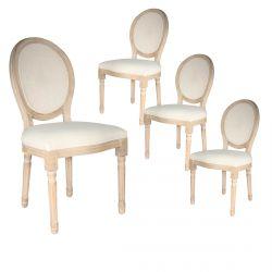 Melinda - Lot de 4 Chaises Baroques avec Dossier Canné
