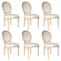 MELINDA - Lot de 6 Chaises Baroques avec Dossier Canné