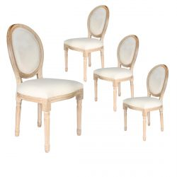 Melinda - Lot de 4 Chaises Baroques Tissu Beige