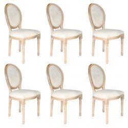 Melinda - Lot de 6 Chaises Baroques Tissu Beige