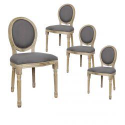 Melinda - Lot de 4 Chaises Baroques Tissu Gris