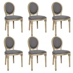 Melinda - Lot de 6 Chaises Baroques Tissu Gris