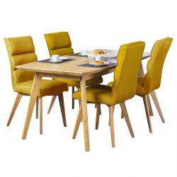 Benedikta - Ensemble Table Repas + 4 Chaises Tissu Curry