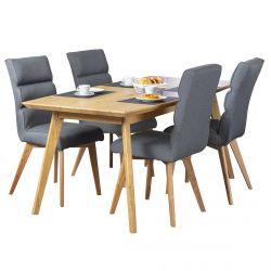 Benedikta - Ensemble Table Repas + 4 Chaises Tissu Gris