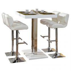 Kansas - Ensemble Table Bar + 4 Tabourets Blancs
