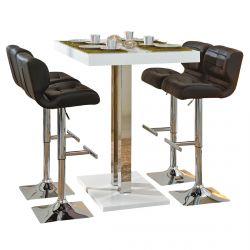 Kansas - Ensemble Table Bar + 4 Tabourets Noirs