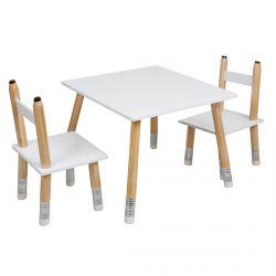 Lapis - Ensemble Table et 2 Chaises Enfant Base Crayons