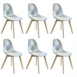DAMAS - Lot de 6 Chaises Patchwork Bleu Clair