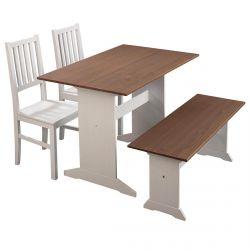 LUCAIN - Ensemble Table Repas + Banc + 2 Chaises Bois Massif