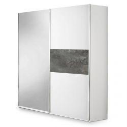 IZIA GRISE - Armoire 2 Portes Coulissantes avec Miroir