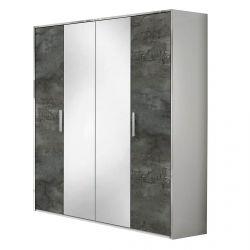 IZIA GRISE - Armoire 4 Portes avec Penderie et Miroir