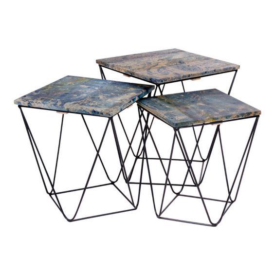 ERLING - Lot de 3 Tables Basses Acier et Effet Marbre Bleu