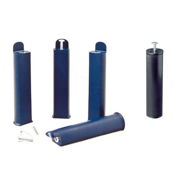 PLAST - Jeu de 4 pieds 22 cm bleus + pied central pour cadre à lattes