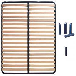 ALTOSLEEP - Pack Sommier 140x190cm 2x18 Lattes + Pieds Bleus + Pied Central