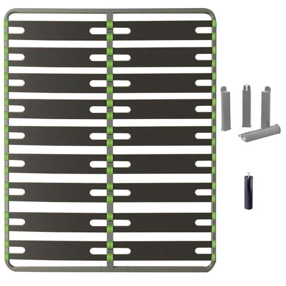 ALTOSENSO - Pack Sommier 2x9 Lattes 140x190cm + Pieds Gris + Pied Central