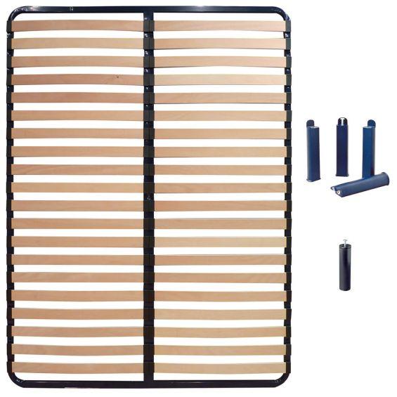 ALTOLATTES - Pack Sommier 2x20 Lattes 160x200cm + Pieds bleus + Pied central