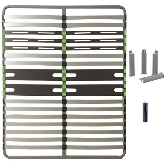 ALTOZONE - Pack Sommier 2x16 Lattes 140x190cm + Pieds Gris + Pied Central