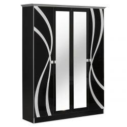 SYLLA NOIRE - Armoire 4 Portes avec Miroir Central