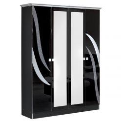 SAVERIA NOIRE - Armoire 4 Portes avec Miroir Central