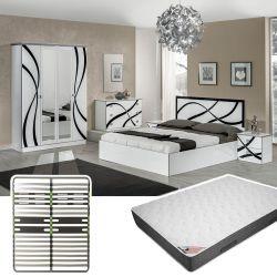 SYLLA - Chambre Complète 160x200cm + Sommier AltoZone + Matelas Bermudes
