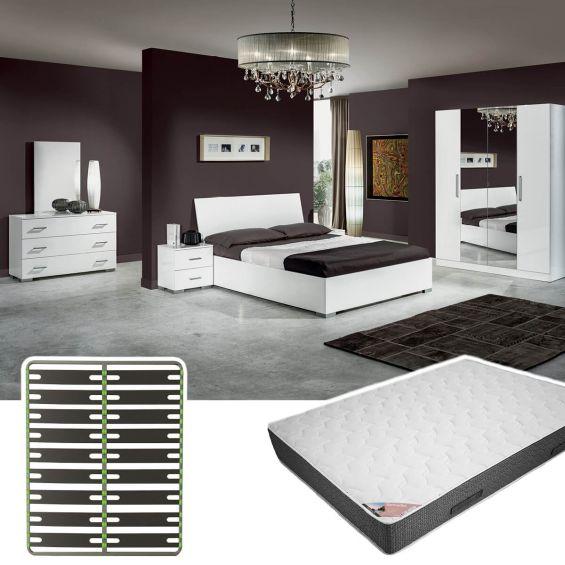VINIA BLANCHE - Chambre Complète 160x200cm + Sommier AltoSenso + Matelas Bermudes