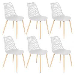 Tressie - Lot de 6 Chaises Coque Plastique Blanche