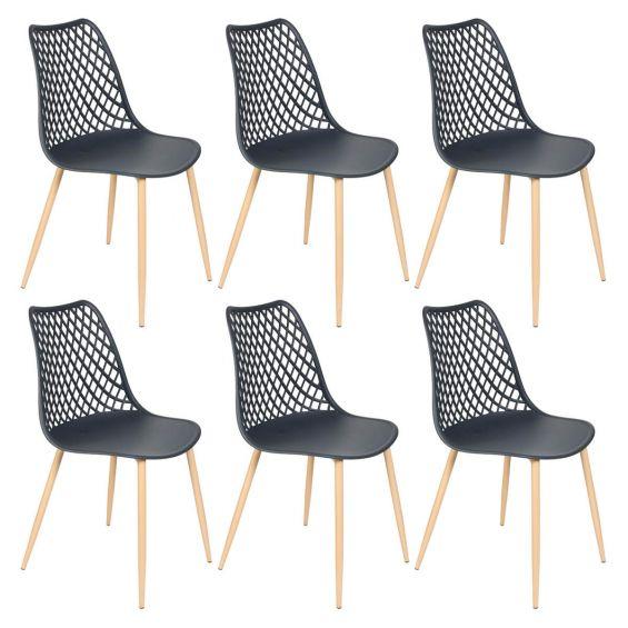 Tressie - Lot de 6 Chaises Coque Plastique Gris