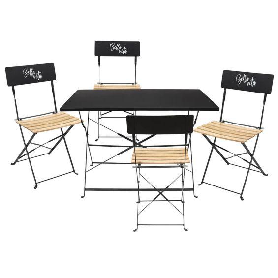 Malam - Ensemble Table Repas Pliante + 4 Chaises Pliantes Noires