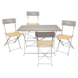 Malam - Ensemble Table Repas Pliante + 4 Chaises Pliantes Taupe