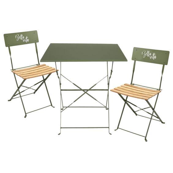 Malam - Ensemble Table Repas Carrée Pliante + 2 Chaises Pliantes Kaki
