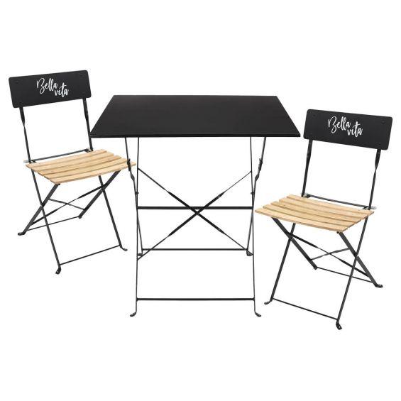 Malam - Ensemble Table Repas Carrée Pliante + 2 Chaises Pliantes Noires