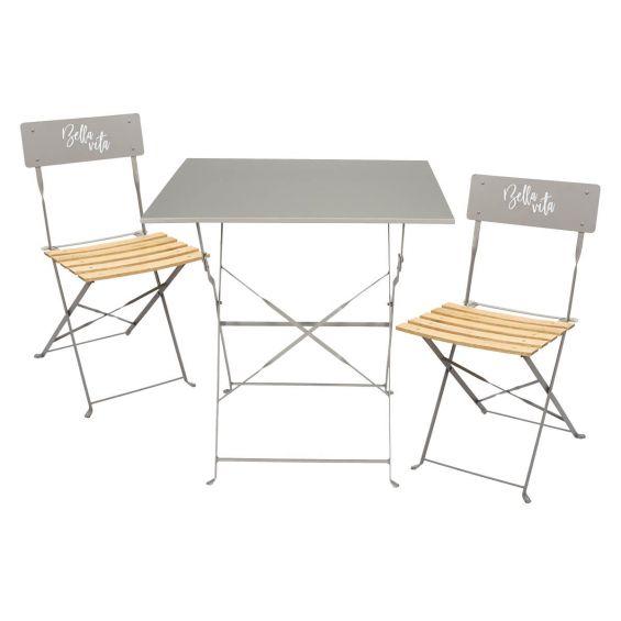 Malam - Ensemble Table Repas Carrée Pliante + 2 Chaises Pliantes Taupe