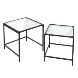 GLASSI - Tables Gigognes Noires Plateau en Verre Texturé