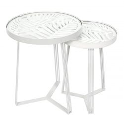 SOVA - Tables Gigognes Blanches Motif Feuilles