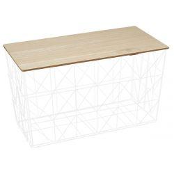 JEWO - Table Pliante Filaire Métal Blanc et Aspect Bois
