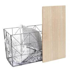JEWO - Table Pliante Filaire Métal Gris et Aspect Bois